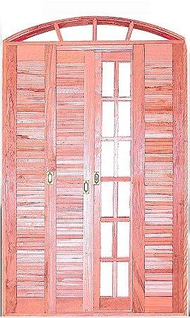 Porta Balcão em Arco Madeira Eucalipto Veneziana 6 Folhas Quadriculada Com Ferragem Montada No Batente De 14 - Rick Esquadrias