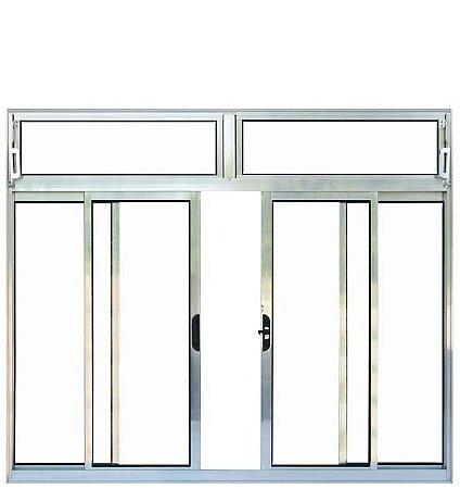 Janela de Correr em Alumínio Brilhante 4 Folhas com Bandeira Vidro Liso Incolor - Esquadrisul