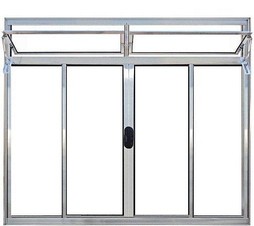 Janela de Correr em Alumínio Brilhante 4 Folhas com Bandeira Vidro Liso Incolor - Linha Moderna - Esquadrisul