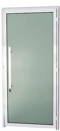 Porta em Alumínio Branco Murano Inteira Vidro Temp. 6 mm Puxador 80 cm Milão Fechadura Rolete - Brimak Super