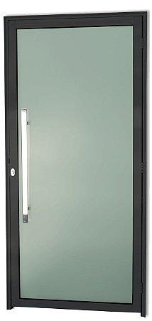 Porta em Alumínio Preto Murano Inteira Vidro Temp. 6 mm Puxador 80 cm Milão Fechadura Rolete - Brimak Super