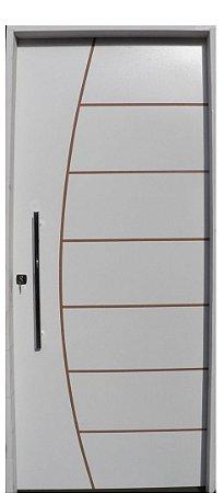 Porta Belissima HDF com primer montada Batente Eco com primer 11 cm Fechadura Externa Rolete e Puxador Reto 60 cm - UNIPORTAS