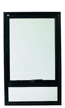 Janela Maxim-ar em Alumínio Preto Uma Secção Com Bandeira Fixa Sem Grade Vidro Mini Boreal - Jap 25