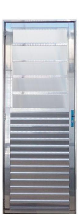 Porta de Abrir (Giro) em Alumínio Brilhante Travessa Com Vidro Mini Boreal Fixo - Linha 25 Lux Esquadrias