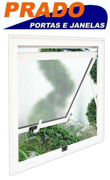 Janela Maxim-ar em Alumínio Branco uma Seção Vidro Mini Boreal - Linha 25 Prado
