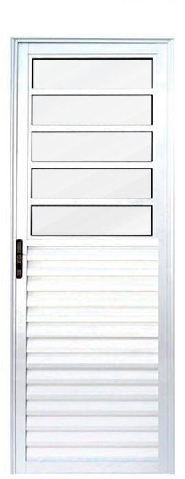 Porta de Abrir (Giro) em Alumínio Branco Travessa Com Vidro Mini Boreal Fixo - Linha 25 Lux Esquadrias