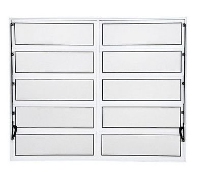 OFERTA - Janela Basculante em Alumínio Branco duas Seções Vidro Canelado Com Acessórios na cor Preta - 1,00 X 2,00 - Esap - ÚLTIMA PEÇA