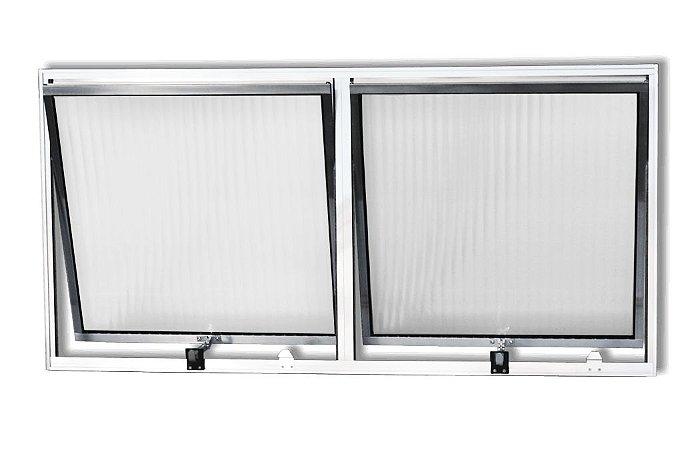 Janela Maxim-ar em Alumínio Branco Com Limitador duas Seções Horizontal Vidro Canelado - Esquadrisul