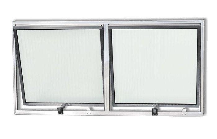 Janela Maxim-ar em Alumínio Brilhante Com Limitador duas Seções Horizontal Vidro Canelado - Esquadrisul
