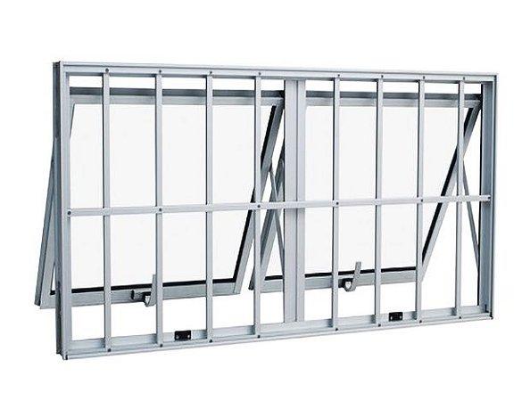 Janela Maxim-ar em Alumínio Brilhante duas Seções Horizontal com Grade Vidro Mini Boreal - Linha Max Lux Esquadrias