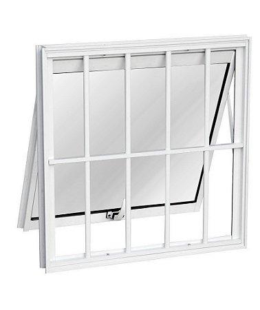 Janela Maxim-ar em Alumínio Branco uma Seção com Grade Vidro Mini Boreal - Linha Max Lux Esquadrias
