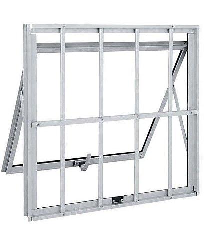 Janela Maxim-ar em Alumínio Brilhante uma Seção com Grade Vidro Mini Boreal - Linha Max Lux Esquadrias