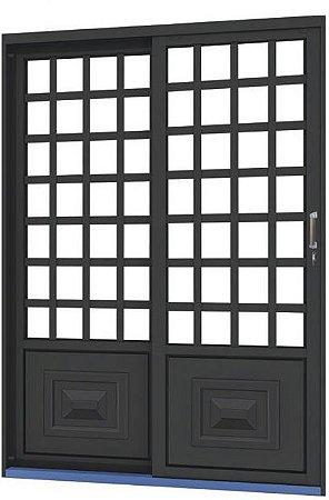 Porta de Correr em Aço 2 Folhas Quadriculada sem Vidro com Fechadura - Requadro 12 cm - Linha Ouro Gerotto
