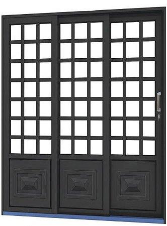 Porta de Correr em Aço 3 Folhas Quadriculada sem Vidro com Fechadura - Requadro 14 cm - Linha Ouro Gerotto