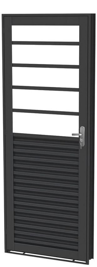 Porta de Abrir Mista com Travessa em Aço  sem Vidro com Fechadura - Requadro 12 cm - Linha Prata Gerotto