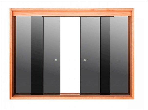 Janela de Correr 4 Folhas Vidro Temperado 6 Milímetros Cor Fumê Armação em Madeira Tauari com Puxador e Trinco - Linha Wood Glass