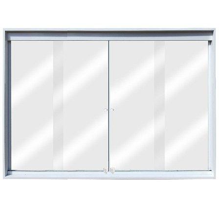 Janela de Correr 4 Folhas Vidro Incolor Temperado 6 Milímetros Cor Armação em Alumínio Branco com Puxador e Trinco - Linha Glass Esquadrimil