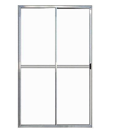 Porta de Correr em Alumínio Brilhante 2 Folhas Uma Fixa Vidro Liso Com Trinco - Linha Plus Lux Esquadrias