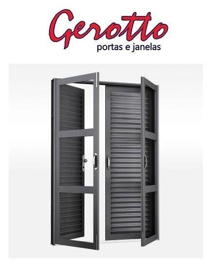 Porta de Abrir (Giro) em Aço 4 Folhas Lamina e sem Vidro com Fechadura - Requadro 16 - Linha Ouro Gerotto