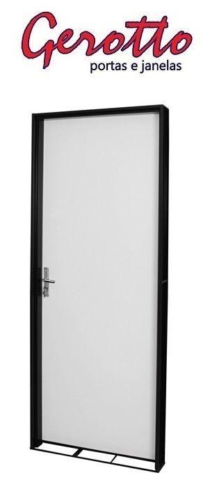 Porta de Abrir (Giro) Duraplak em Madeira Pintura Branca com Batente de Aço com Fechadura e Maçaneta Externa - Batente de 12 Cm - Linha Ouro Gerotto
