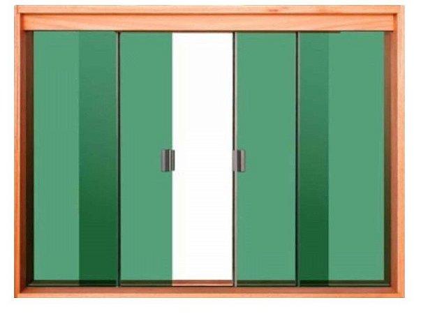 Janela de Correr 4 Folhas Vidro Temperado 6 Milímetros Cor Verde Armação em Madeira Tauari com Puxador e Trinco - Linha Wood Glass