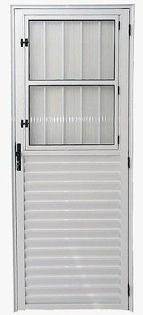 Porta de Abrir (Giro) em Alumínio Branco Social Com Postigo Vidro Canelado - Linha 25 - ESAX