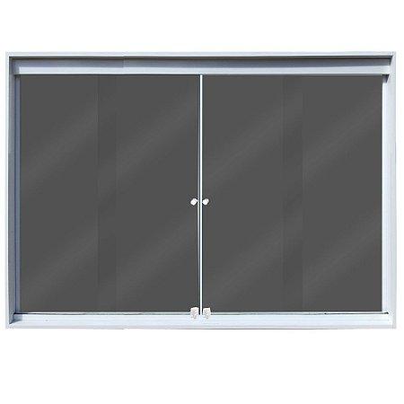 Janela de Correr 4 Folhas Vidro Fumê Temperado 6 Milímetros Cor Armação em Alumínio Branco com Puxador e Trinco - Linha Glass Esquadrimil