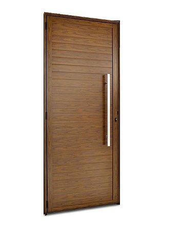 Porta De Abrir (Giro) em Alumínio Cerejeira Com Lambril Puxador - Linha FortSul - L25 - Esquadrisul