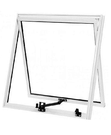 PRONTA ENTREGA - Janela Maxim-ar em Alumínio Branco Uma Seção com Limitador Vidro Mini Boreal - Esap