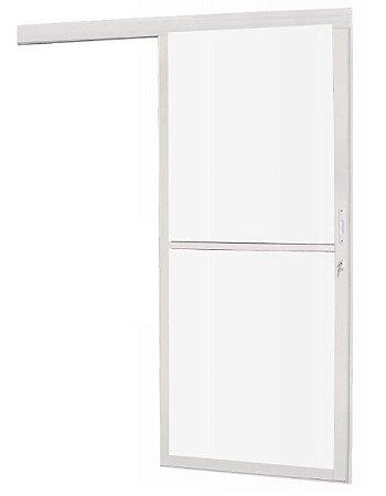 Porta Suspensa Vidro Panorâmico em Alumínio Branco Com Fechadura - Linha Premium Brasil Esquadrias
