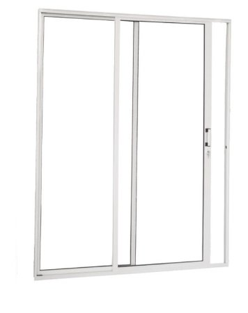 Porta de Correr em Alumínio Branco 2 Folhas Uma Fixa Vidro Liso Temperado 5 mm Com Fechadura - Linha Premium Brasil Esquadrias