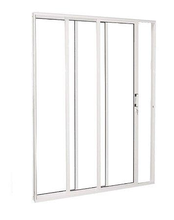 Porta de Correr em Alumínio Branco 3 Folhas de Vidro Incolor Temperado com Fechadura - Linha Premium Brasil Esquadrias
