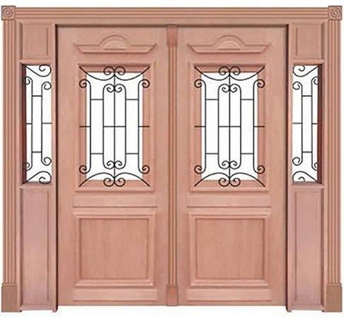 Porta de Abrir 2 Folhas em Madeira Cedro Arana Realeza 001 Com Visor Montada no Batente de 14 Cm Sem Ferragem - Casmavi