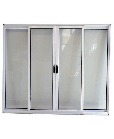 PRONTA ENTREGA - Janela de Correr em Alumínio Branco 4 Folhas Vidro Liso Incolor - Linha Modular - Esap