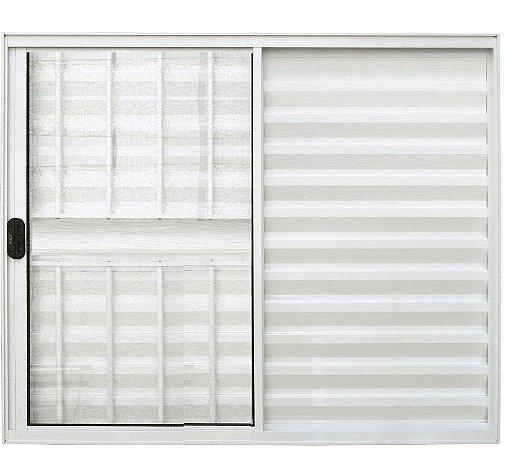PRONTA ENTREGA - Janela Veneziana em Alumínio Branco 3 Folhas Uma Fixa com Grade Vidro Liso Incolor - Linha Normatizada Lux Esquadrias
