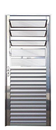 PRONTA ENTREGA - Porta de Abrir (Giro) em Alumínio Brilhante Com Basculante Vidro Mini Boreal - Linha 25 Lux Esquadrias