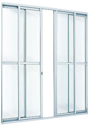 PRONTA ENTREGA - Porta de Correr em Alumínio Brilhante 4 Folhas Vidro Liso Com Fechadura - Linha Max Lux Esquadrias