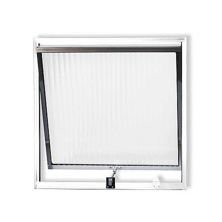PRONTA ENTREGA - Janela Maxim-ar em Alumínio Branco Uma Seção Vidro Canelado - Linha Moderna Esquadrisul