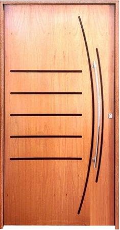 Porta de Abrir Pivotante Dover em Madeira Curupixá Semi Oca com Puxador e Fechadura Batente de 14 Cm - Rick Esquadrias