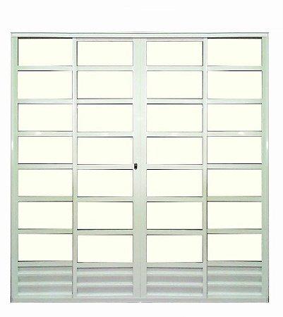 Porta de Correr em Alumínio Brilhante Com Travessa 4 Folhas Vidro Liso Com Fechadura - Linha 25 Trifel