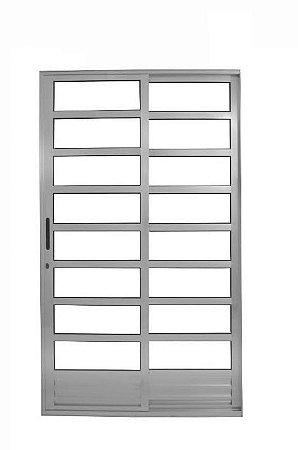 Porta de Correr em Alumínio Branco Com Travessa 2 Folhas Vidro Liso Com Fechadura - Linha 25 Trifel