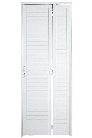 Porta Camarão em Alumínio Branco Lambril Com Fechadura - Linha Premium Lux Esquadrias