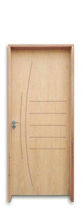 Porta de Abrir (Giro) em Madeira Semi Oca Viena P.Imbuia Riscada Batente de 11 cm com Fechadura e Maçaneta STAM Cromada - Uniportas