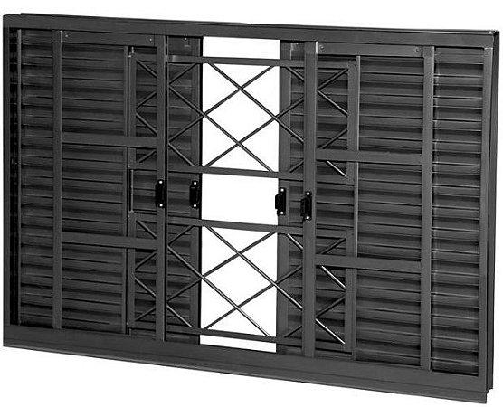 QUEIMA DE ESTOQUE - Janela Veneziana em Aço 6 Folhas Com Grade Tubular Com Folha para Vidro - Requadro 12 cm - Linha Prata Gerotto