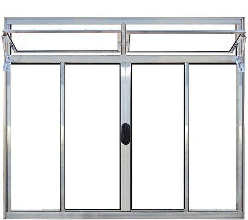 PRONTA ENTREGA - Janela de Correr em Alumínio Brilhante 4 Folhas Com Bandeira Vidro Liso Incolor - Linha Normatizada Lux Esquadrias