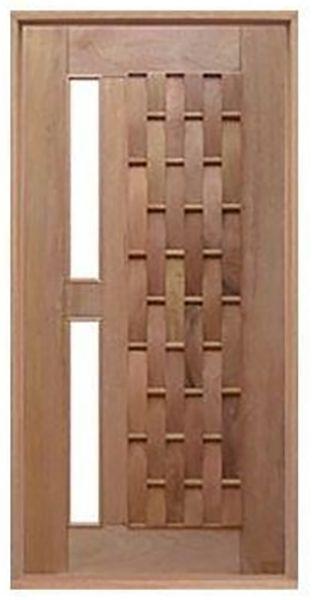 Porta de Abrir Pivotante Couro Longo para Vidro Reto em Madeira Cedro Arana Montada no Batente de 14 Cm com Pivô - Casmavi