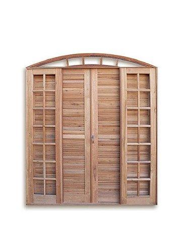 Porta Balcão em Madeira Cedro Arana 6 folhas com Veneziana e Ferragens em Arco - Batente de 14 Cm Uniportas