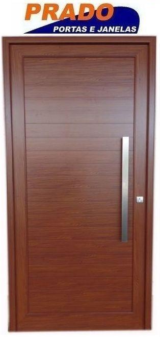 Porta de Abrir (Giro) em Alumínio Madeira Lambri Com Puxador e Guarnição  - Linha Patrimony Prado