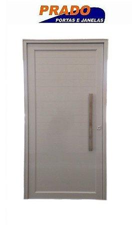 Porta de Abrir (Giro) em Alumínio Branco Lambri Com Puxador e Guarnição  - Linha Patrimony Prado