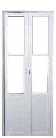 Porta Camarão em Alumínio Branco Lambril Com Vidro Mini Boreal - Linha Premium Lux Esquadrias